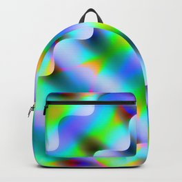 Bright pattern of blurry light blue and pink flowers in a pastel kaleidoscope. Backpack