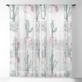 Cactus Rose Gold Marble Potted Cactuses and Succulents Sheer Curtain