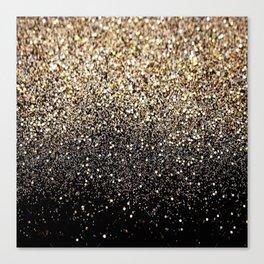 Black & Gold Sparkle Canvas Print