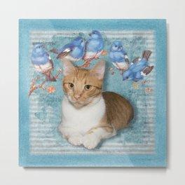 Cat and Blue Birds Metal Print