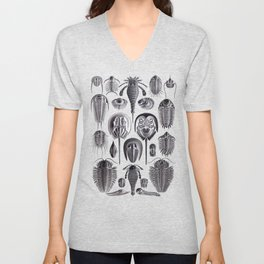 Trilobites and Fossils by Ernst Haeckel Unisex V-Neck