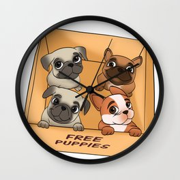 Free Puppies Wall Clock