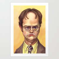 dwight schrute Art Prints featuring Mr. Dwight K Schrute by Ben Anderson