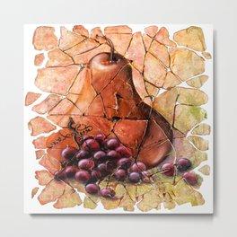 Pear & Grapes Fresco Metal Print