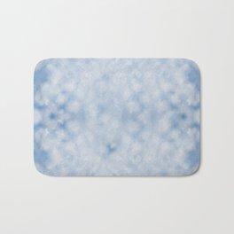 Blue white sparkles bokeh abstract Bath Mat
