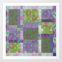 Lotus flower purple and lime green stitched patchwork - woodblock print style pattern Art Print