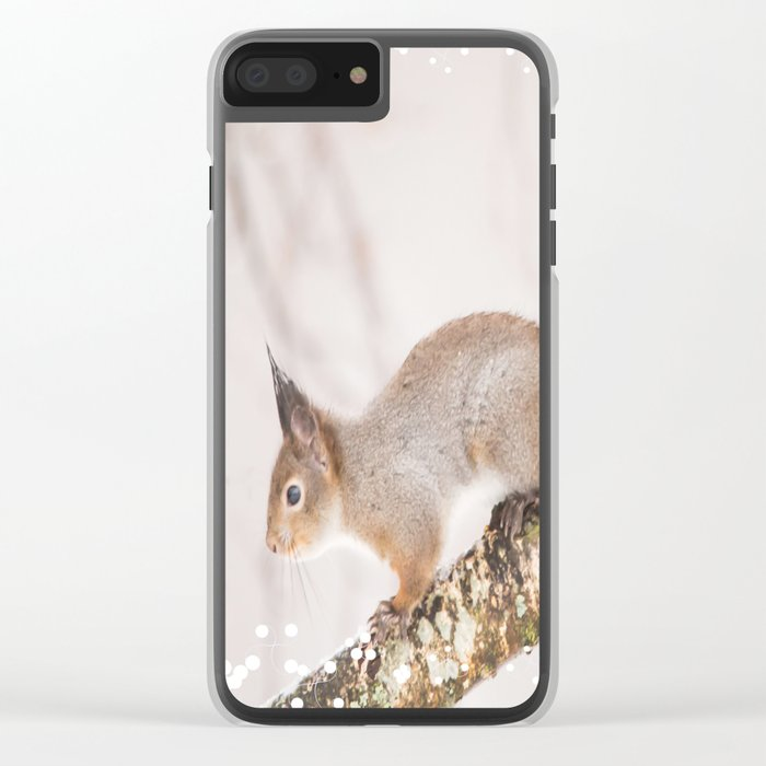 Little squirrel jumping on the branch #decor #society6 #buyart Clear iPhone Case