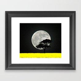 Lone Tree And Moon. Framed Art Print