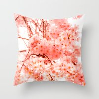 cherry blossoms Throw Pillows featuring Cherry Blossoms by 2sweet4words Designs
