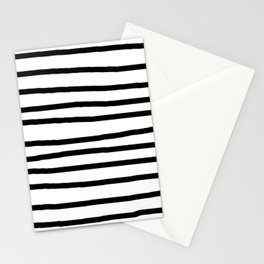 Simply Drawn Stripes in Midnight Black Stationery Cards