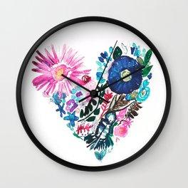 Rainbow Boho Floral Heart Watercolor Wall Clock