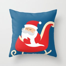 Merry Christmas Santa Claus Flying in his Sleigh Throw Pillow