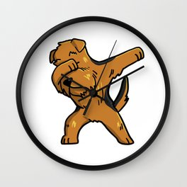 Funny Dabbing Airedale Terrier Dog Dab Dance Wall Clock