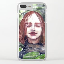 Girl in a lake, watercolor Clear iPhone Case