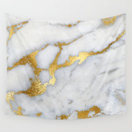 White and Gray Marble and Gold Metal foil Glitter Effect Wall Tapestry