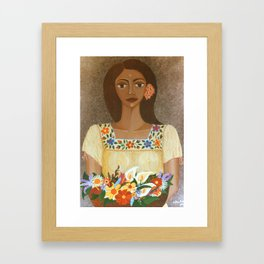 More than flowers she sells illusions Framed Art Print
