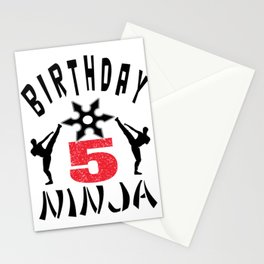 Kids Ninja 5th B-Day Gifts for Boys And Girls Stationery Cards