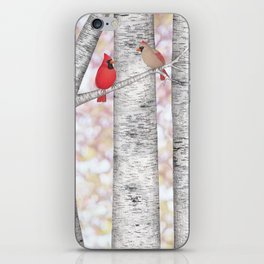 cardinals and birch trees iPhone Skin