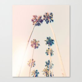 Vintage Pastel Palm trees Canvas Print
