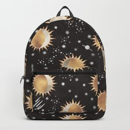 Sun and Moon Pattern (Black Background) Backpack
