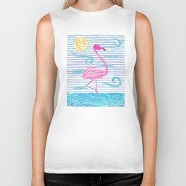 Pink Flamingo blockprint Biker Tank