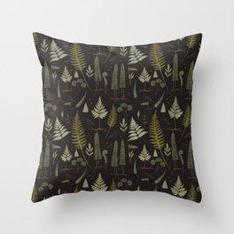 Fern pattern black Throw Pillow