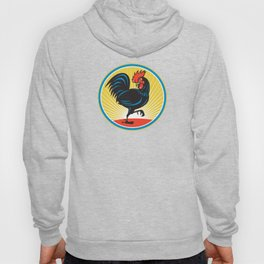 Rooster Cockerel Marching Side Retro Hoody
