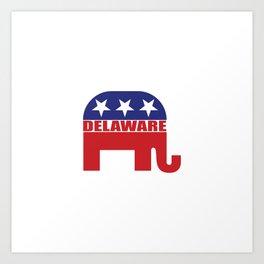Delaware Republican Elephant Art Print