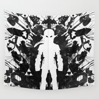 psychology Wall Tapestries featuring Ink Blot Link Kleptomania Geek Disorders Series by Barrett Biggers