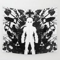psychology Wall Tapestries featuring Ink Blot Link Kleptomania Geek Disorders Series by Barrett Biggers