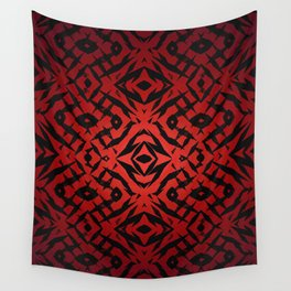 Red tribal shapes pattern Wall Tapestry