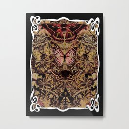 Art Nouveau Honeysuckle and Moths Metal Print