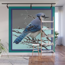 TEAL AMERICAN BLUE JAYS  GREY WINTER ART Wall Mural