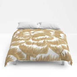 Golden Dahlia Flower Comforters