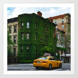 Taxi on the Upper East Side and an Ivy-Covered Brownstone Art Print