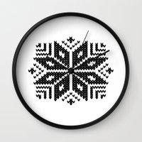knit Wall Clocks featuring knit flake by Miranda J. Friedman