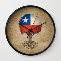 chile Wall Clocks featuring Vintage Tree of Life with Flag of Chile by Jeff Bartels