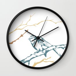 Bird on branch (blue, brown on white) illustration Wall Clock