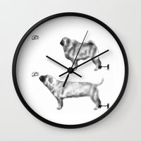 motivation Wall Clocks featuring Pug Motivation by Brendon Smile