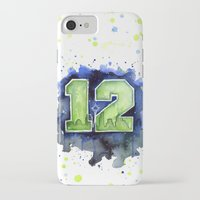 seahawks iPhone & iPod Cases featuring 12th Man Seahawks Seattle Go Hawks Art by Olechka