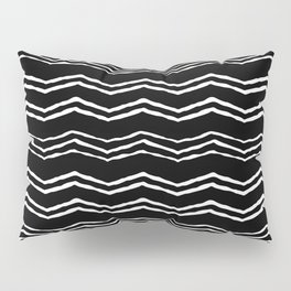 Black and white triangle waves Pillow Sham