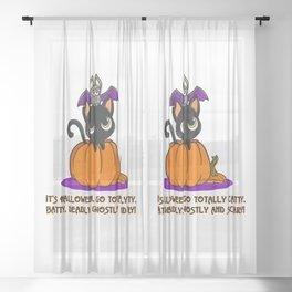 Go Totally Catty, Batty, and Scary! Sheer Curtain
