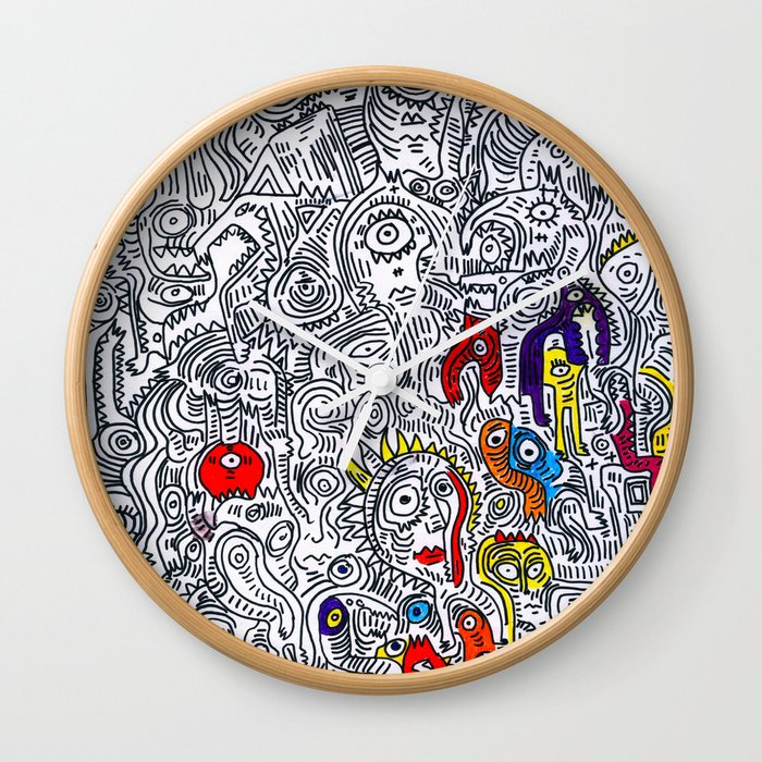 Pattern Doddle Hand Drawn Black And White Colors Street Art Wall Clock By Emmanuelsignorino