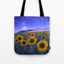 Sunflowers At Blue Hour . Square Tote Bag