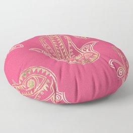 Neon pink faux gold inspirational Hamsa hand of Fatima Floor Pillow