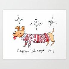 Holiday Card - Happy Hotdog Art Print