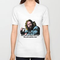 big lebowski V-neck T-shirts featuring The Big Lebowski Quotes by Guido prussia