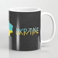ukraine Mugs featuring Ukraine Vintage Map by Finlay McNevin
