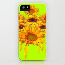 chartreuse Yellow Sunflowers Abstract iPhone Case