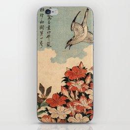 Hokusai Cuckoo and azaleas -hokusai,manga,japan,Katsushika,cuckoo,azaleas,Rhododendron iPhone Skin